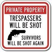 BRILLON Trespassers Will Be Shot – Survivors Will Be Shot Again Schild – 30,5 x 30,5 cm
