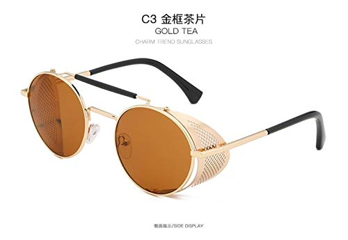 Augenglasrahmen Gut Teufel Crowley David Tennant Sonnenbrille Cosplay Props Steampunk Brillen Metallrahmen Lolita Brille Brillen (Color : Gold Tea)