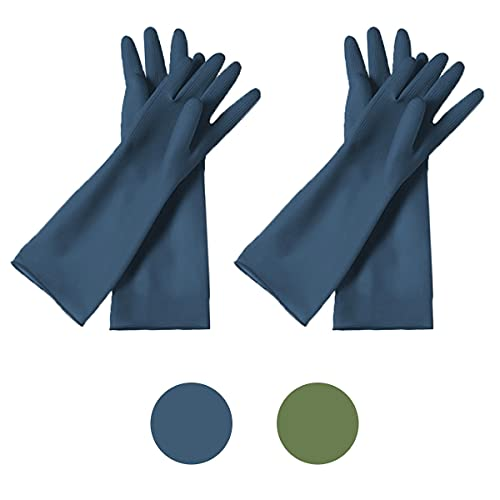 HOMSSEM Dishwashing Gloves– 2 Pairs of Dish Gloves Premium Rubber Gloves for Cleaning – Urban Green Urban Blue