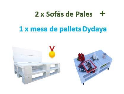 2 x Sofá de Palets + 1 Mesa de Palets Blanca Dydaya & Sillones y mesas de pallets