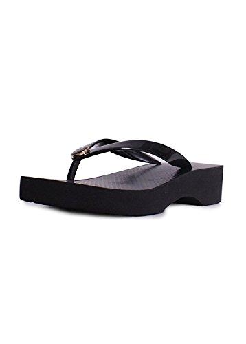 Tory Burch Cut-Out Wedge Flip Flop Black Sandal (9, Black)