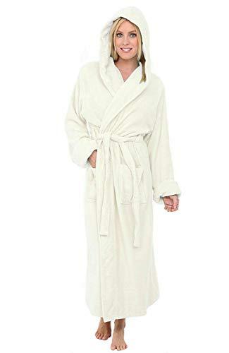 Comfortos - Albornoz para hombre y mujer, 100% algodón egipcio con capucha de rizo | cuello de chal | bata | ropa de dormir | bata | Albornoz | Perfecto para gimnasio ducha Spa