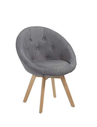 Duhome Stuhl Esszimmerstuhl Grau Küchenstuhl mit Holzbeinen Sessel Retro Stoffbezug Farbauswahl 509G