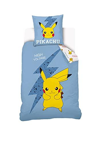 Parure De Lit Pikachu Réversible Enfant - Housse De Couette 140x200 cm + Taie d'oreiller 63x63 cm - Bleu - 100% Coton