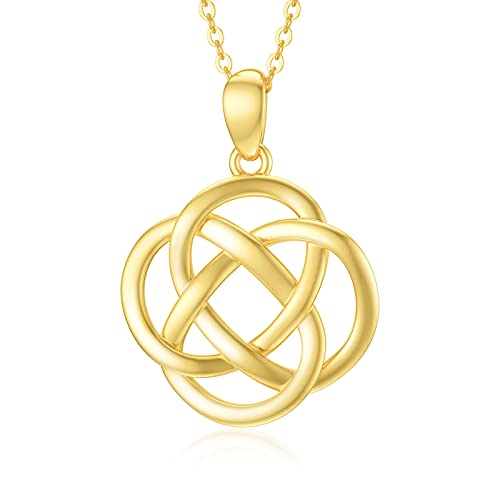 SISGEM Solid 14k Gold Celtic Knot Necklace Real Gold Good Luck Polished Celtic Knot Cross Pendant Necklace Fine Jewelry Anniversary Valentine's Day Gifts for Her,Wife, 16''-18''