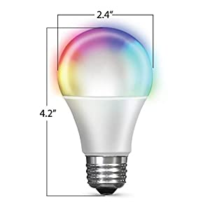Feit Electric OM60/RGBW/CA/AG/3 60 Watt Equivalent WiFi Color Changing and Tunable White, Dimmable, No Hub Required, Alexa or Google Assistant A19 LED Smart Light Bulb, 3-Pack, Rgbw Multicolor