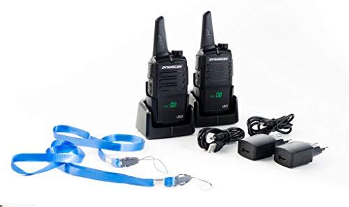 Dynascan LB23 Pareja de walkie talkies PMR-446 de uso libre con pantalla oculta