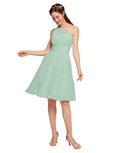 Alicepub Chiffon Bridesmaid Dress Short Cocktail Party Homecoming Dresses, Mint Green, US8