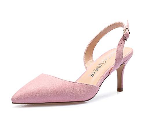 Castamere Talón Abierto Zapatos de Tacón Mujer Sexy Tacón de Aguja Clásicos Cerrado Sandalias Alto 6CM Ante Rosa Zapatos EU 39.5