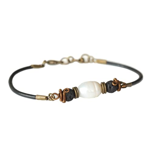 Fresh Pearl Bracelet - Men's Antique Bronze Bracelet - Black Lava Beads - Black Leather Cord Bracelet - Rugged Rustic Earthy Bracelet - June Birthstone Father's Day Gift - Gift for Dad - Gift for Men