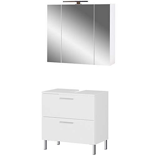 Germania 2-tlg. Badezimmer-Set 8269-84 GW-Arvada, bestehend aus Waschbeckenunterschrank und Spiegelschrank, in der Farbe Weiß