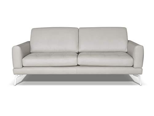 Marchio Amazon -Alkove, divano in pelle modello Modena, stile moderno, 3 posti, minerale