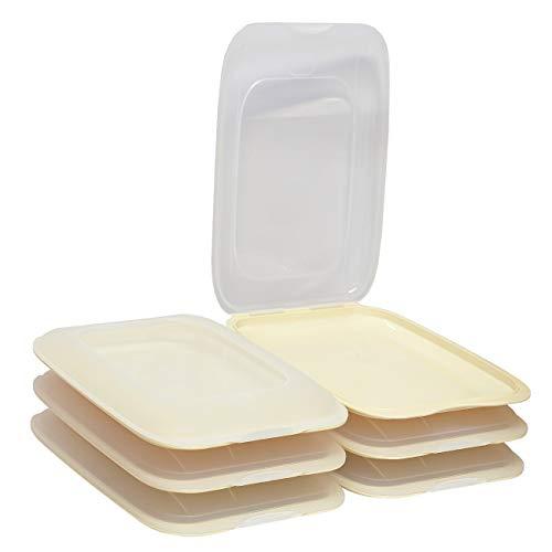 ENGELLAND - Hochwertige stapelbare Aufschnitt-Boxen, Frischhaltedose für Aufschnitt. Wurst Behälter. Perfekte Ordnung im Kühlschrank, 6 Stück Farbe Beige, Maße 25 x 17 x 3.3 cm