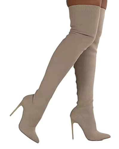 Minetom Damen Hohe Stiefel Strick Herbst Winter Schuhe Langschaft Overknee Stiefel Stiletto High Heels Lang Boots A Beige 41 EU