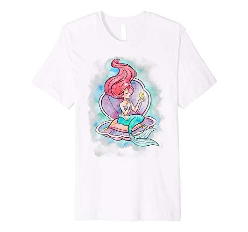 Disney Little Mermaid Ariel In Shell Watercolor T-Shirt