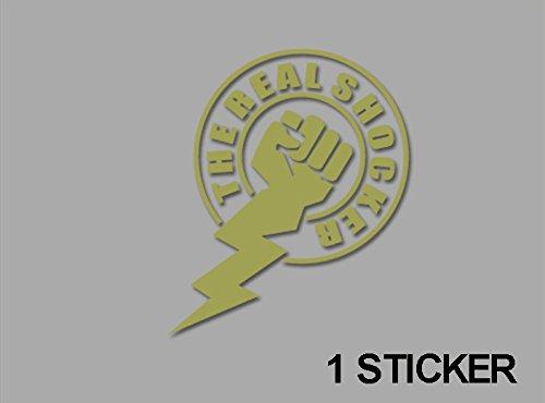 Ecoshirt 35-9BFK-Y592 Aufkleber Stickers Real Shocker Ref: Jdm54 Aufkleber Autocollants Adesivi, Gold