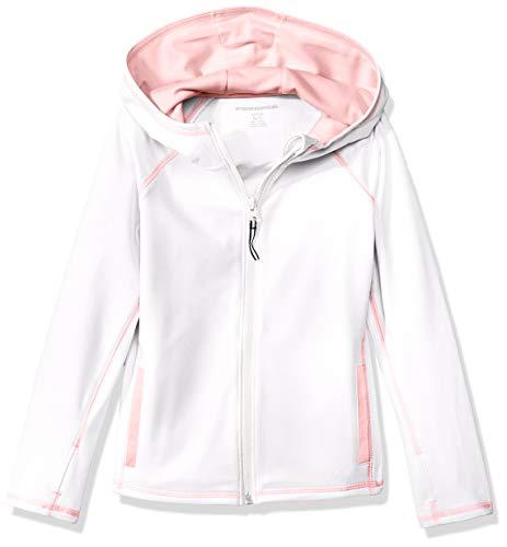 Amazon Essentials Mädchen Full-Zip Active Jacket, Weiß (White), 8 Jahre (Herstellergröße:  M)