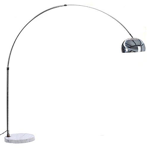 Lampada Ad Arco con Base Rotonda in Marmo Bianco, Lampada da Terra Design Moderno, Struttura in Alluminio Cromato, Altezza 166 cm, Marmo Bianco