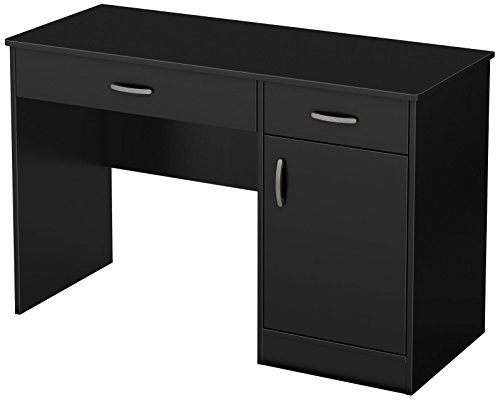 South Shore Small Computer Desk with Drawers, Pure Black