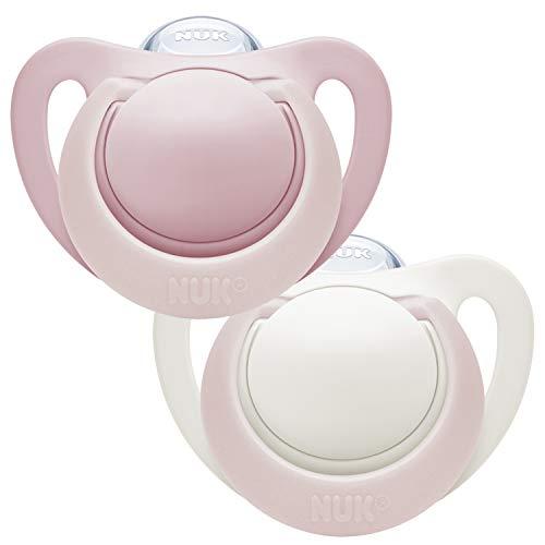 NUK Genius Silikon-Schnuller, für zarte Neugeborene, 0-2 Monate, 2 Stück, Girl, rosa