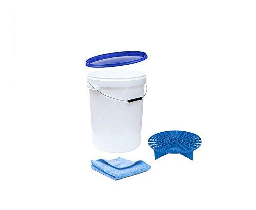 Autowäsche-Eimer Wash Bucket Wascheimer 25 Liter +blauer Deckel + blauer Grit Guard