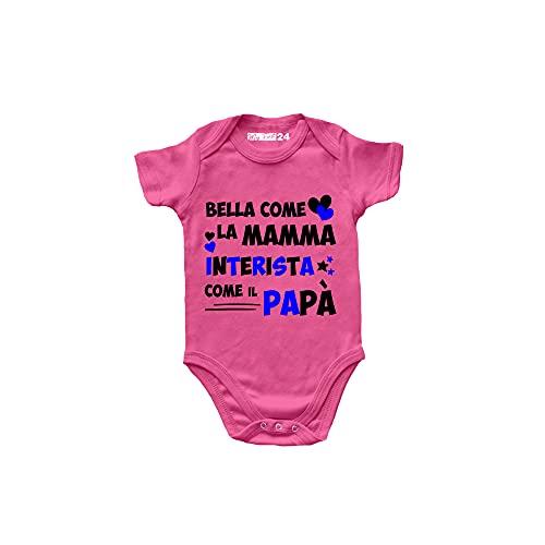 Body de bebé de manga corta – Bella come la Mamma, Interista Come el papá – Body para niña unisex 100% algodón suave y transpirable – Body Idea regalo para nacimiento de niña, Rosa, 6-12 meses
