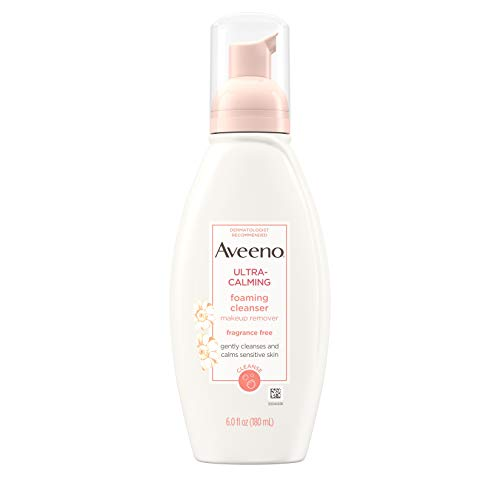 Aveeno Ultra-Calming Foaming Cleanser & Makeup Remover Facial Cleanser with Calming Feverfew, Face Wash for Dry & Sensitive Skin, Hypoallergenic, Fragrance-Free & Non-Comedogenic, 6 fl. oz