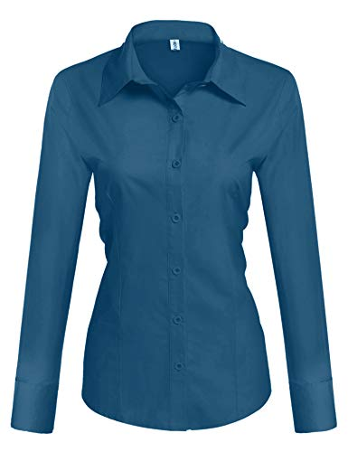 HOTOUCH Womens Button Down Shirts Long Sleeve Slim Fit Cotton Casual Blouse Top Blue Green Large
