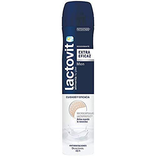 Lactovit - Desodorante Extra Eficaz Men, 0% Alcohol, Anti-Irritaciones y 48H de Eficacia - 200 ml