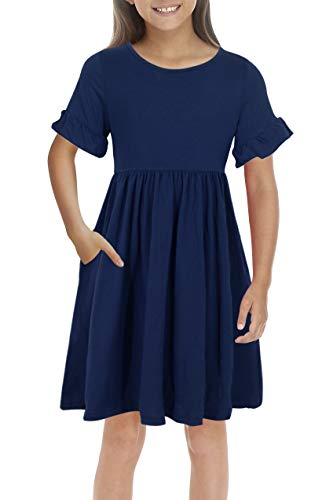 GORLYA Girl's Simply Ruffle Sleeve Elegant Smock Style Casual Midi Dress with Pockets for Kids 4-12 Years (GOR1010, 9-10Y, Navy Color)