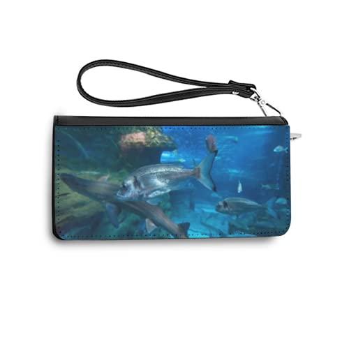 Geldbörsen für Frauen Mode Fishes Swimming Large seawater Aquarium PU Leder Long Ladies Geldbörse Kreditkarteninhaber Wallet Organizer One Size