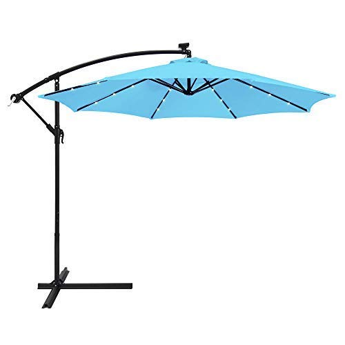 Best Choice Products 10ft Solar LED Offset Hanging Market Patio Umbrella w/Easy Tilt Adjustment,...