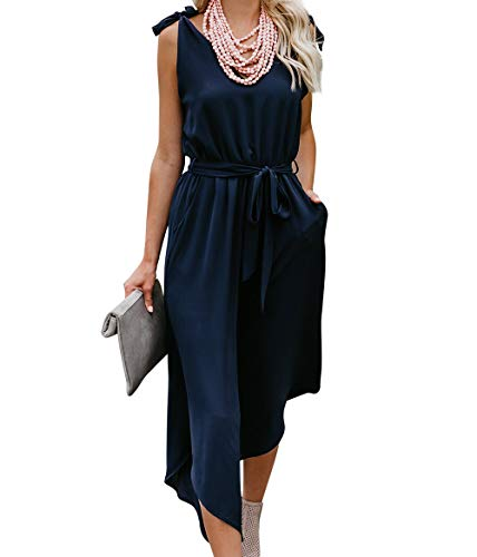 BELONGSCI Women Sleeveless Jumpsuit with Belt V-Neck Wide Leg Long (Navy, L)