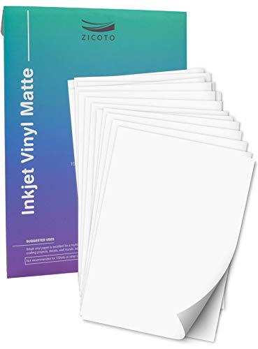 Premium Printable Vinyl Sticker Paper for Your Inkjet and Laser Printer - 15 Matte White Waterproof Decal Paper Sheets - Dries Quickly and Holds Ink Beautifully