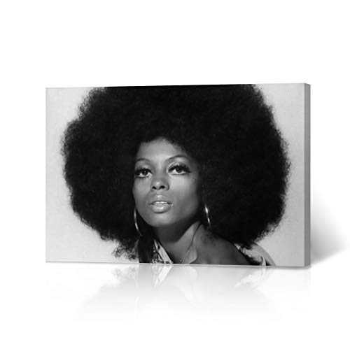 HB Art Design Diana Ross in Afro Head Black and White Canvas Wall Art Print Beautiful African American Art Icon Artwork Living Room Bedroom Decor Home Decor Made in USA 8x12