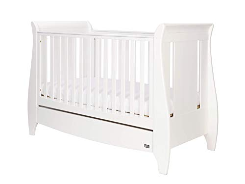 Tutti Bambini Lucas Space Saver Sleigh Cot Bed with Under Bed Drawer - 140 X 70cm Converts to Junior/Toddler Bed (White) 3 Positions