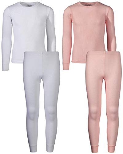 Rene Rofe Girl Waffle Thermal Underwear Top and Pant Set (2 Full Sets) (White/Light Pink, 10/12)