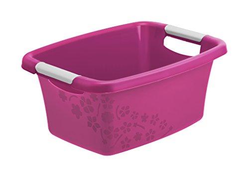 Rotho Flower Wäschewanne 12 l, Kunststoff (PP), pink / weiss, 12 Liter (39,5 x 29,5 x 17,5 cm)