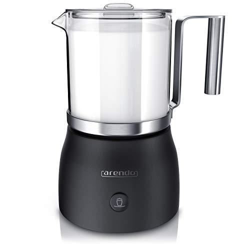 Arendo - Milchaufschäumer elektrisch inkl. abnehmbaren Glasaufsatz Milkstar - Milk Frother - BPA-frei - einfache Bedienung durch 1-Sensortaste für Warm- und Kaltaufschäumen