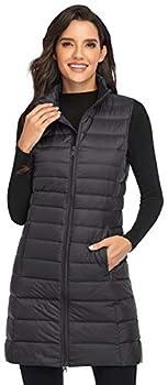 Obosoyo Women s Ultra Light Long Down Vest Winter Packable Down Jacket Lightweight Outdoor Puffer Vest Coat