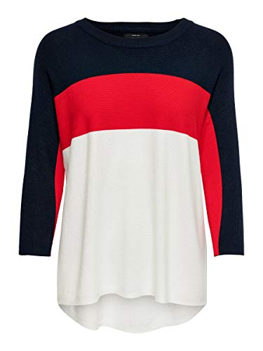 Only Onlregitze 3/4 Pullover Knt Noos suéter, Night Sky/Detail:High Risk Red/Cloud Dancer, 42 (Talla del Fabricante: Large) para Mujer