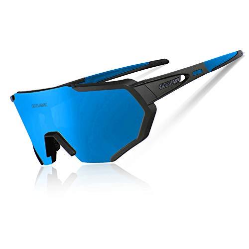 Queshark Radbrille Polarisierte Sportbrille Fahrradbrille mit UV-Schutz 3 Wechselgläser für Herren Damen, für Outdooraktivitäten wie Radfahren Laufen Klettern Autofahren Angeln Golf (Schwarz Blau)