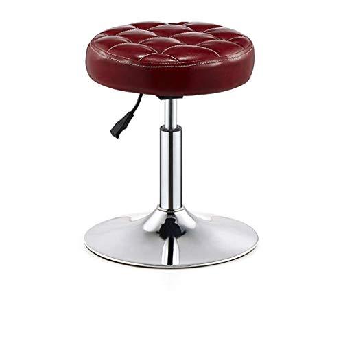 WYJW Barhocker Stuhl Runde PU Sitz Einstellbare Gasfeder, Höhe 40-55 cm für Küche Frühstück Barhocker Verchromte Platte Basis max. Laden Sie 150 kg in Dunkelrot
