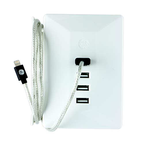 GE USB Charging Station, 4 USB Ports, Surge Protection, Rapid Charge, Built-In Cable Management, Warranty, Wall Tap, UL Listed, Sleek White, 31712