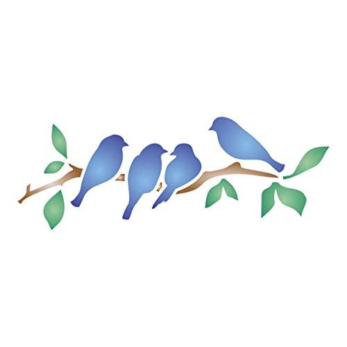 Plantilla para estarcido con diseño de pájaros small
