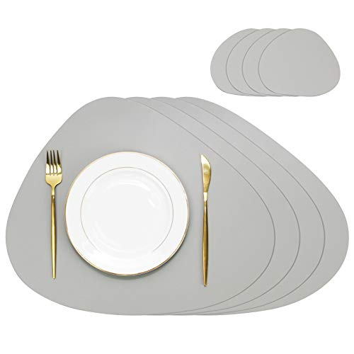 Olrla PU Leather Placemats and Coasters Set, 4 Placemats 45x38cm and 4 Coasters 13x11cm, Waterproof Heat Insulation Wipeable Dining Coffee Table Mats (Light Grey)
