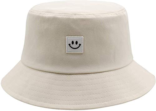 Smiley Face Bucket Hat for Men Beach Summer Travel Bucket Hat 100% Cotton Sun Protection Packable Outdoor Hat