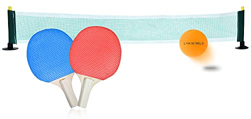Tischtennis Set   Mini Tischtennisspiel inkl. 2 Tischtennisschläger Tischtennisball & Netz   Tischtennis Mini-Schläger & Aufstell Netz Tischtennis to go Set ideal für Office Büro Kinder Kleinkinder