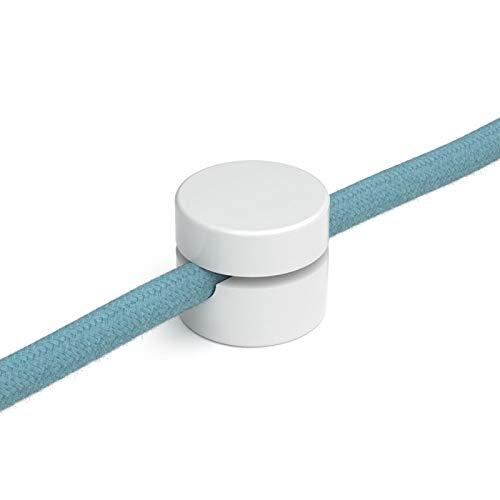 Wand- und Deckenpins - Weiß/Schwarz für Textilkabel. 5 Stück. Made in Italy (Weiß)