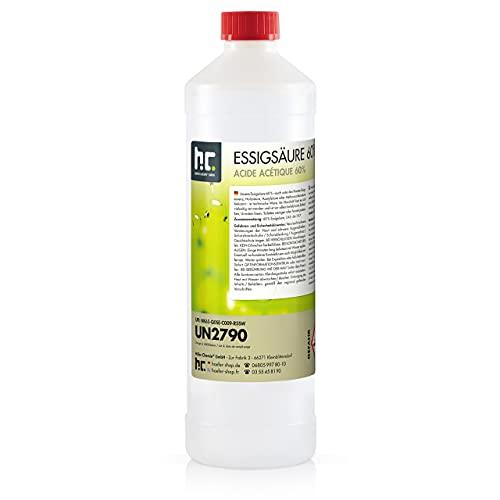 6 x 1 L Essigsäure 60% - frisch abgefüllt in handlichen 1L Flaschen zum sofortigen Gebrauch